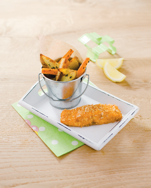 Homemade salmon fish finger with homemade wedges and roasted carrot and parsnip