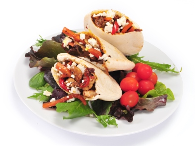 Warm pitta with Denny deli style roast turkey, roasted peppers and feta