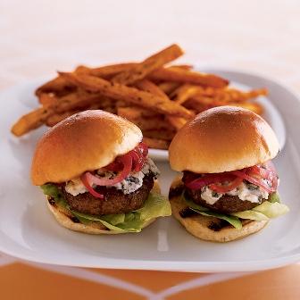 Stilton sirloin burgers with onion jam