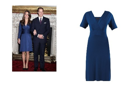 Kate Middleton – Blue Crossover Dress