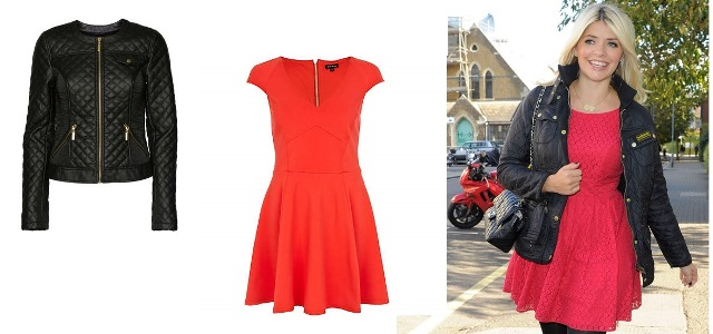 Holly Willoughby – Dallas PU Jacket Teamed with Red Skater Dress