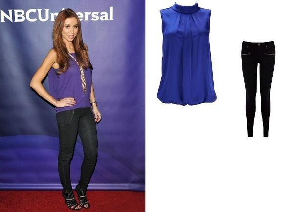Una Healy – High Neck Shell Top Teamed with Quilted Biker Jeans