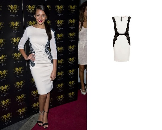 Michelle Keegan – Black & White Lace Side Dress