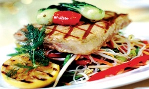 Tuna loin fillets with a sesame-dressed salad and wilted pok choi