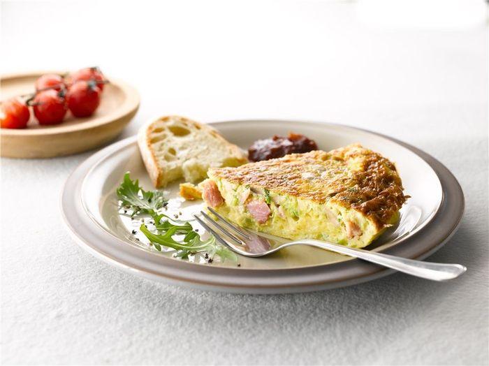 Leek, mushroom and ham omelette