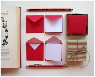 Red and White Stationary Set