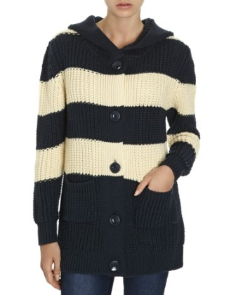 Hooded Oversized Striped Cardigan