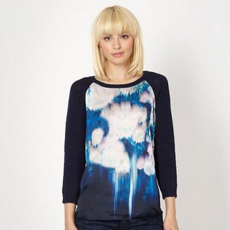 Blue Blurred Floral Jumper