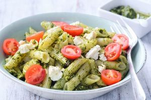 Cherry tomato, ricotta and kale pesto pasta