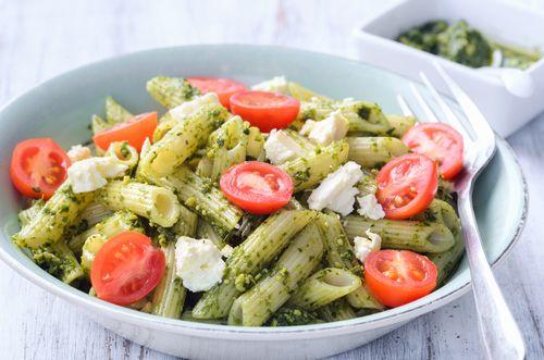 Cherry tomato, ricotta and kale pesto pasta