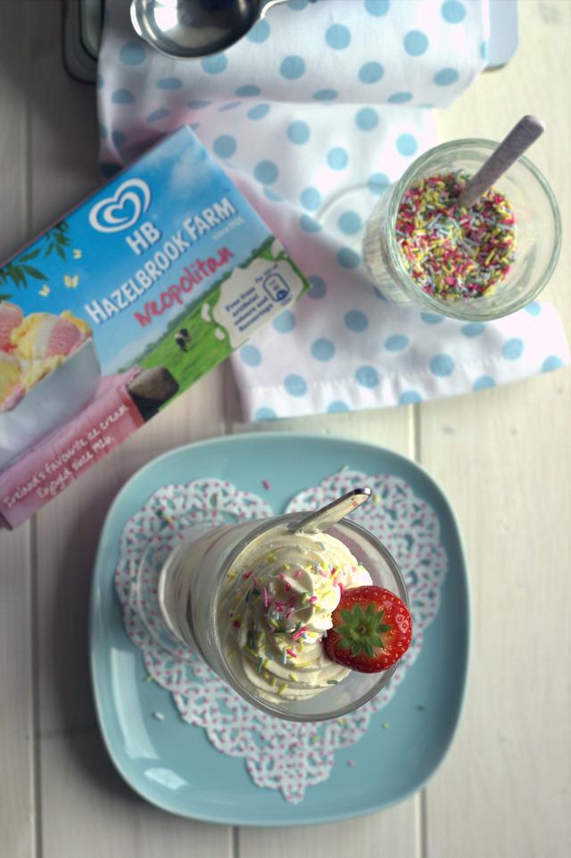Neopolitan ice cream sundae