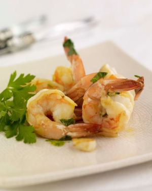 Tiger prawns in white wine