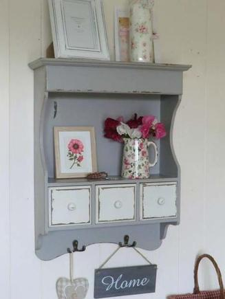 Grey Wall Cabinet With 3 Drawers & Hooks