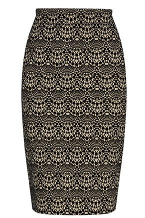 Warehouse Scalloped Lace Pencil Skirt