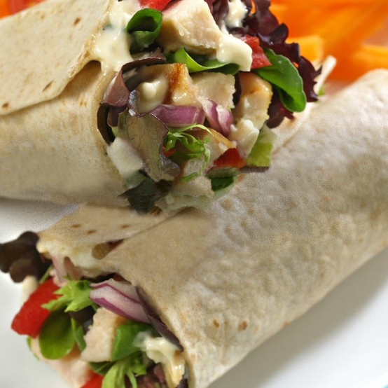 Chicken and veggie wraps