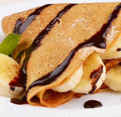 Banana and chocolate crepe
