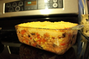 Easy Mexican bean casserole