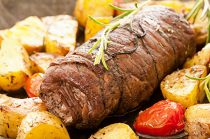 Rolled beef with cheese and herbs