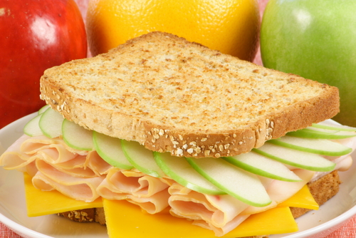 Apple and cheese sandwich