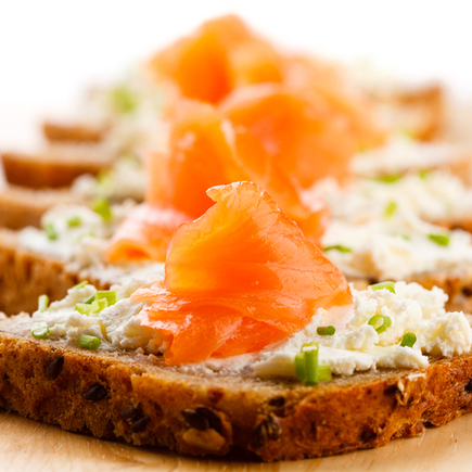 Salmon and chives mini sandwich