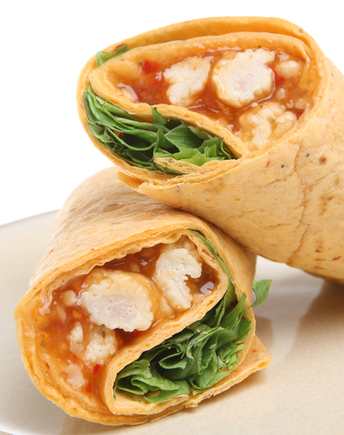 Chicken and lettuce with sweet chilli sauce