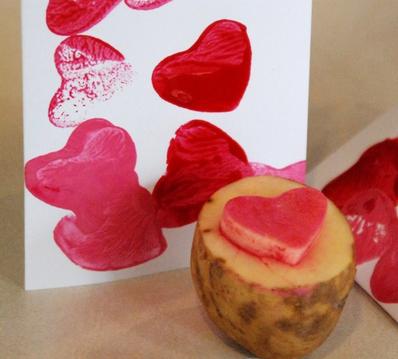 Potato stamp Valentine cards