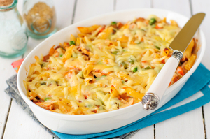 Turkey and pumpkin pasta bake
