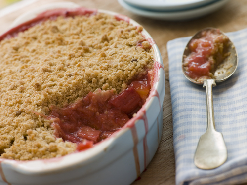 Easy apple and rhubarb crumble