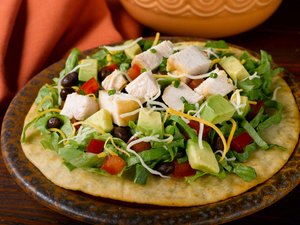 Chicken and avocado tostada