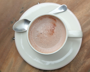 Banana and strawberry hot chocolate