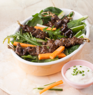 Sticky beef skewers