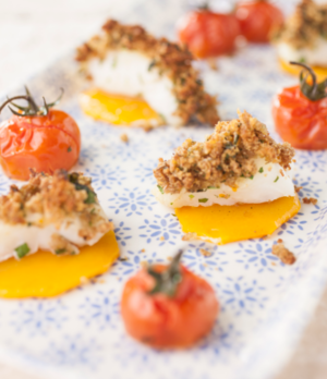 Herb crusted cod fillets with butternut squash