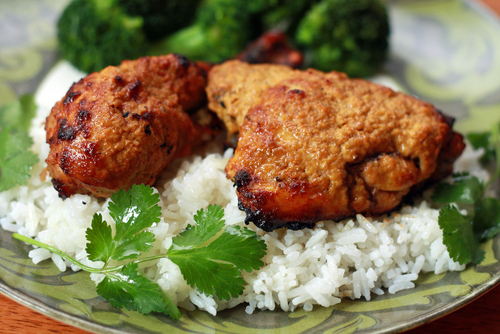 Tandoori chicken with roast broccoli and rice