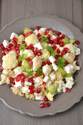 Pomegranate salad with couscous and feta