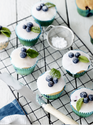 Lemon iced blueberry muffins