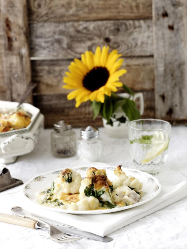Cod and cauliflower gratin