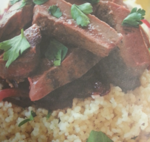 Lamb's liver with caramelized red onions and couscous