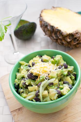 Pineapple, avocado and black bean salad