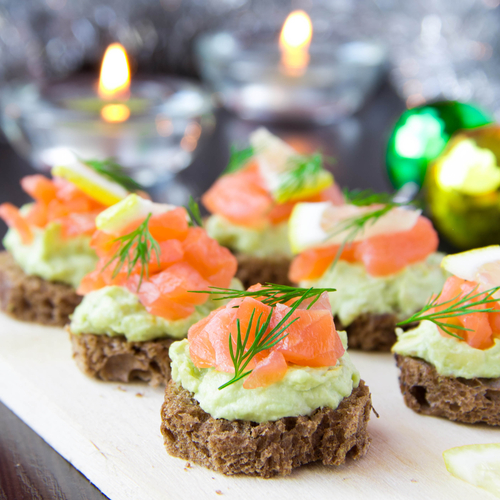 Avocado and salmon canapés