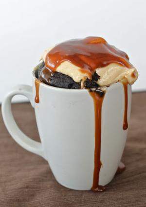 Nutella and caramel mug cake