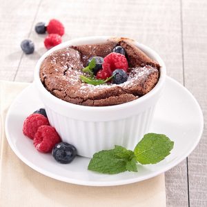Chocolate and summer berry mug cake