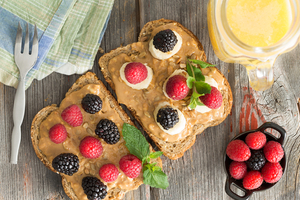 Peanut butter and berry toast topping