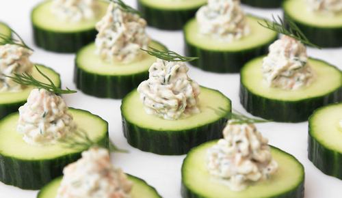 Salmon mousse and cucumber bites