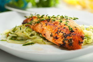 Salmon with herb pasta