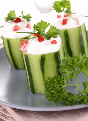 Stuffed cucumbers with cream cheese