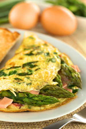 Asparagus and ham omelette