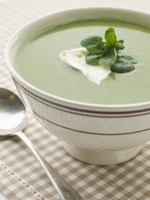 Watercress soup with crème fraiche