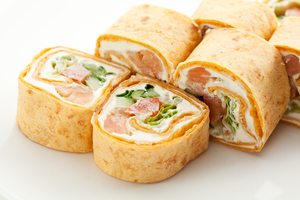 Salmon & cucumber sushi sandwiches