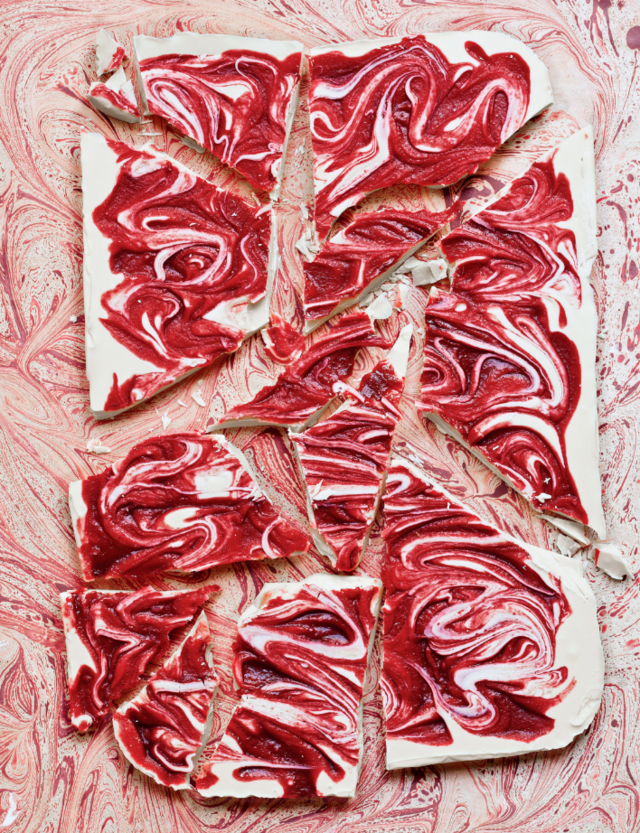 Raspberry ripple white chocolate slab