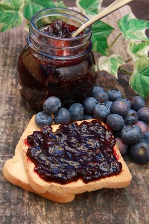 Blueberry jam on toast